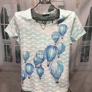 KAREN SCOTT Hot Air Balloons Short Sleeve Tee L